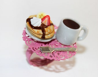 Breakfast Ring - Pancake Ring - Bakery Ring - Kawaii Ring - Miniature Food jewelry