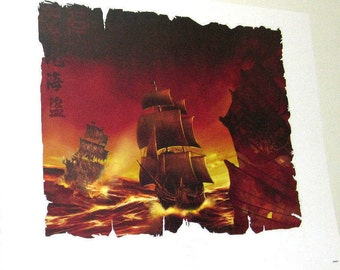 Pirates of the Caribbean, Pirate Ships, Lithograph, Limited Edition, Disneyland Collectible, Movie Memorabilia, Certificate of Authenticity