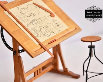 Miniature 1920s French Drafting Drawing easel adjustable Table, dollhouse furniture, Library, Study room
