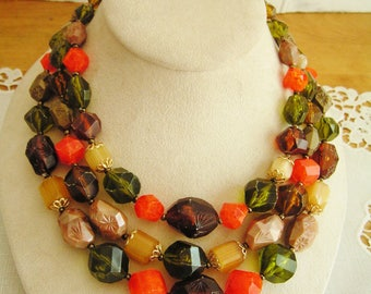 Vintage Germany Fruit Salad Hard Plastic Triple Strand Beaded Necklace Fabulous Fall Colors Orange Green Brown White Gold 1950s Mid-Century