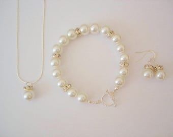 Glamour Luxury Bridal Jewelry Set,  Pearl Wedding Jewelry Set - Bracelet, Necklace and Earrings Pearl Set