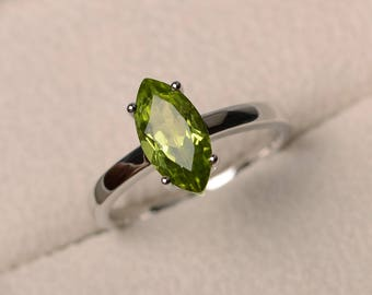 Natural peridot ring, wedding ring, green gemstone, solitaire ring, marquise cut gemstone, August birthstone