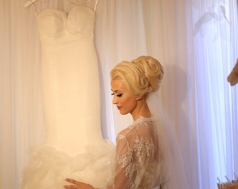 Chantilly Lace Robe for the Bride To Be