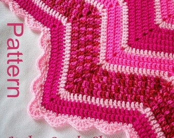 Crochet Blanket PDF Pattern 12-Pointed Star Blanket At the Candy Shop Pink and Raspberry Design