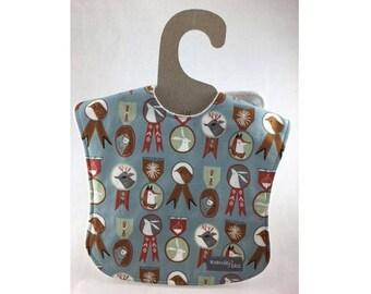 Baby boy bib, baby scout bib, leakproof bib, 1st birthday bib, fox bib, shower gift ,woodland baby, ready to ship, forest animal bib, birds