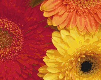 Colorful Gerbera Daisies PDF Cross-Stitch Pattern