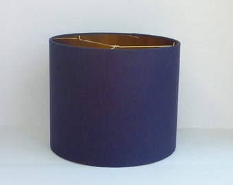 Drum Lamp Shade in Navy Blue  Linen Fabric with Metallic Gold Lining