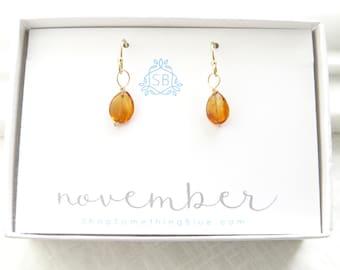 November Birthday Gift • Citrine Earrings • Faceted Teardrop Gemstones • Golden Yellow Gemstone • November Birthstone Earrings