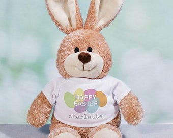 Happy Easter Personalized Easter Bunny, plush bunny, plush toy, Easter gift for kids, easter basket stuffer, brown, customized -gfy86101078L