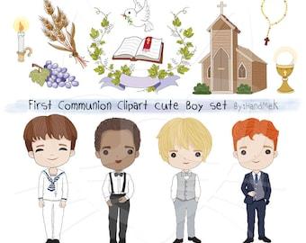 Communion boy clipart set Instant Download - PNG Files.