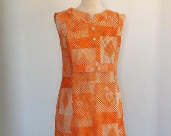 Vintage 60's Orange Dress, Sleeveless Dress with Geometric Pattern