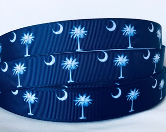 5 YDS South Carolina Flag Ribbon - Plametto Tree - Crescent Moon