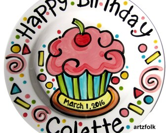 Personalized Birthday Plate confetti party swirls and cupcake handmade by Artzfolk