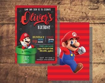 MARIO BROS INVITATION, Mario bros Birthday party