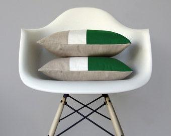 Kelly Green & Cream Color Block Pillow (Set of 2) Modern Home Decor by JillianReneDecor   Minimal   Colorblock Pillow   Holiday   Emerald