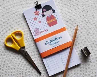 perpetual calendar with kokeshi, Birthday calendar