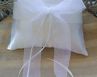 "Wedding  Ring Bearer Pillow in White  Handmade ""ORGANZA"""