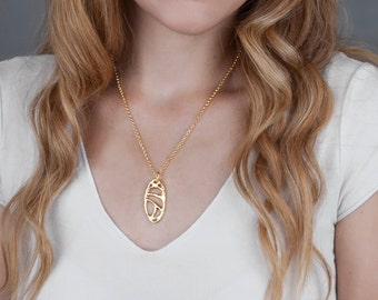 Gold Necklace; Pendent Necklace; Abstract Necklace; Filigree Jewelry; Everyday Jewelry; Mother Gift; Dainty Jewelry; Gold Plated Necklace