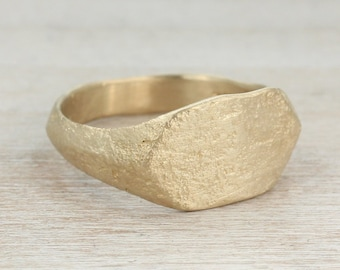 Women's Ancient Texture Signet Ring - Gold or Palladium - Alternative Engagement Ring Eco-friendly Minimal Primitive Bronze Age