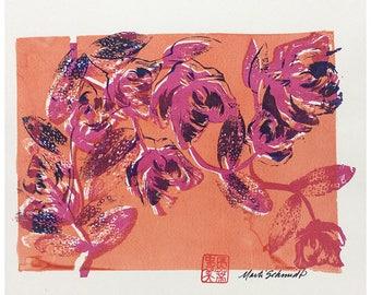 Silk Screen Fine Art Print - Summer Roses Peach OOAK by Marti Schmidt 9x12 Hand Printed - Flowers, Floral Art, Silk Screen Print