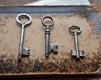 3 Antique metal skeleton key, Old key, rustic home decor