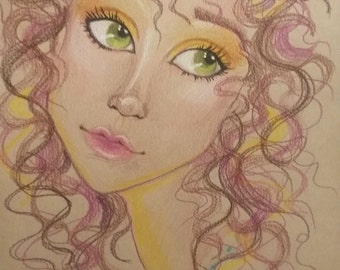 Original Art-Curious-Fantasy Face-Woman's Portrait-Leslie Mehl Art