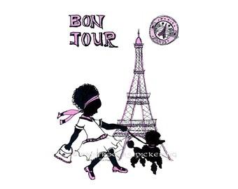 Bon Jour Parisian Girl with Afro Silhouette 8x10 Art Print