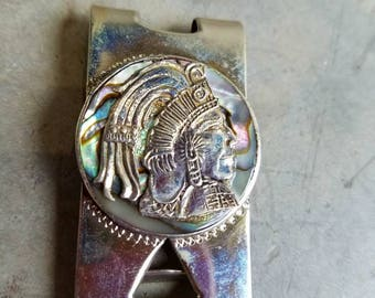 Money Clip Sterling Taxco with Abalone and Indian Head