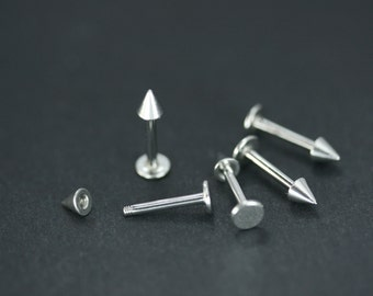 Labret stud, spike labret, spike earring, monroe spike, cartilage earring, tragus stud, helix piercing, conch - surgical stainless steel