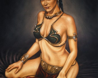 Star wars Princess Leia sexy Slave Outfit black velvet oil painting handpainted signed art