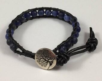 Leather Wrap Bracelet with Sodalite Beads