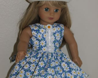 Daisies and Dots dress and hat for 18 inch doll
