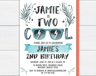 Cool invitations etsy two cool birthday invitation two cool birthday party invite 2nd birthday invitation cool filmwisefo Choice Image
