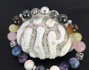 Celestial Sun Moon Stars Chakra Healing Balancing Elastic Stretchy 8mm Bead Bracelet