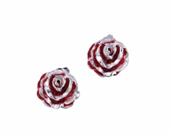 Rose stud earrings with red enamel -Hand Made and Design in UK