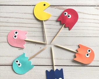 18 Pac Man Cupcake Toppers
