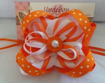 Orange Baby Headband - Dressy Orange Headband - Orange and White Baby Headband - Orange and White Headband