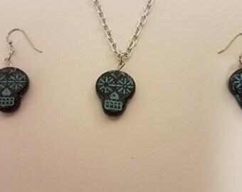 Black And Green Sugar Skulls Turquoise Earrings Jewelry   / Handmade Jewelry