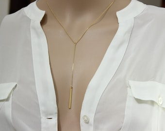 Silver version available, Lariat Gold Bard Necklace, Long Necklace, Y Necklace , Thin bar necklace, Bridesmaid Gift, Delicate Necklace