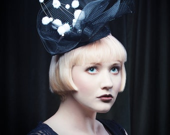 Fascinator, black hat, black headpiece, crinoline fascinator hat - Bobbles