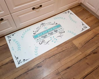 Pvc vinyl mat, personalized rug, floor mat, pvc carpet, kitchen rug, art mat, personal design, gift for her, home design, christmas gifts