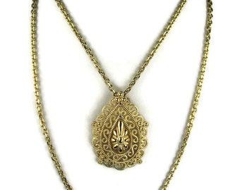 Crown Trifari Double Chain Pendant Necklace