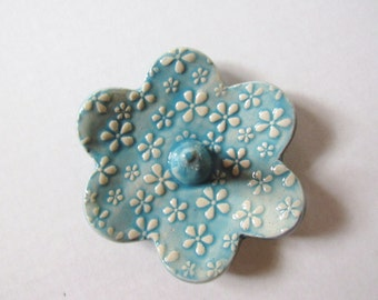 Tiny flower textured Ring Holder - Turquoise Ring Dish - Raised flower blossom texture Ring Bowl