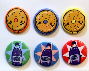 Quirky Bagels & Grape Juice Buttons