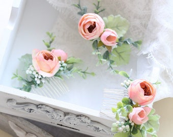 Flower Comb / Mia Pink Hair Comb / Peony Silk Ranunculus // Wedding / Bridesmaids / Flower girl / Prom / Music Festival