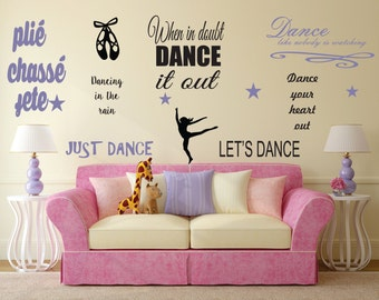 Just Dance Wall Decal- dance quotes, wall art, dancer, dance shoes, ballerina, dance phrases