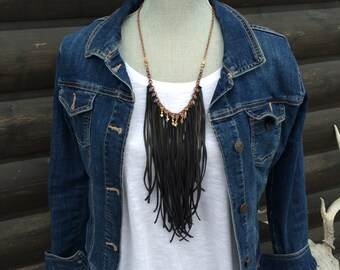 Leather Tassel Necklace With Pyrite, Black Tassel Bohemian Necklace, Tribal Style, Statement Necklace