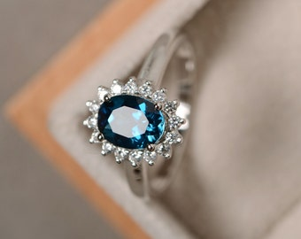 London blue topaz ring, sterling silver, blue gemstone, promise ring, engagement ring, oval cut ring
