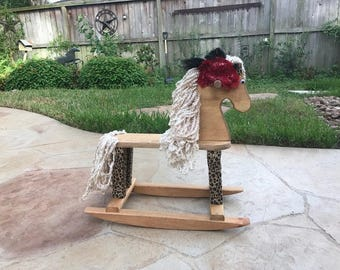 Rocking Horse - Rocking Horse Wooden Toy - Ride on Toy - Heirloom Furniture - Child's Rocking Toy - Horse Toy - Animal Toy - Cheetah