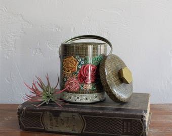 English Tea Tin, Boho Tin, Floral Tea Tin, Candy Tin, Container Tin, Bathroom Decor, Shabby Chic Decor, Murray Allen Tin, Collectible Tin